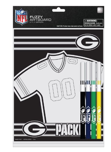 Green Bay Packers 8 x 10 Inches Fuzzy Coloring Board with Markers (12029-QUJ) (Green Bay Packers Office Supplies)