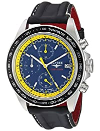 ELYSEE Men's 'Competition' Quartz Stainless Steel and Leather Casual Watch, Color:Black (Model: 18012L)