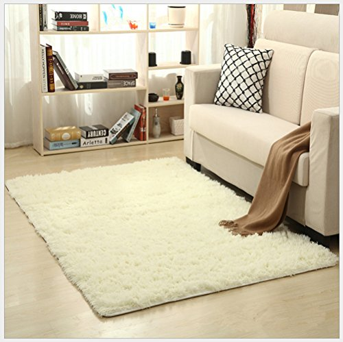 OYRE modern Simple decoration living room bedroom Non-slip plus thick carpet Yoga rug (white, 4- Feet By 5.2- Feet) (Non Plus Slip)