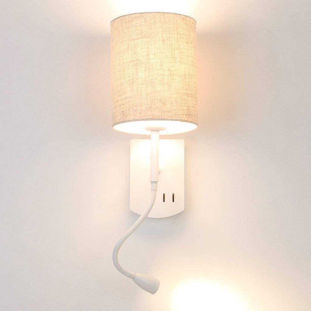 QAZ Wandleuchte Light Reading Schlafzimmer Nachttischlampe modernes Hotel Wohnzimmer Study LED Hintergrund Wand mit Schalter 3w Suchscheinwerfer (Farbe  Leinen)