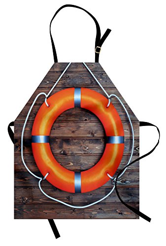 Ambesonne Buoy Apron, A Life Buoy on The Wooden Wall Lifesaver Safety Emergency Rescue Equipment, Unisex Kitchen Bib Apron with Adjustable Neck for Cooking Baking Gardening, Orange Brown]()