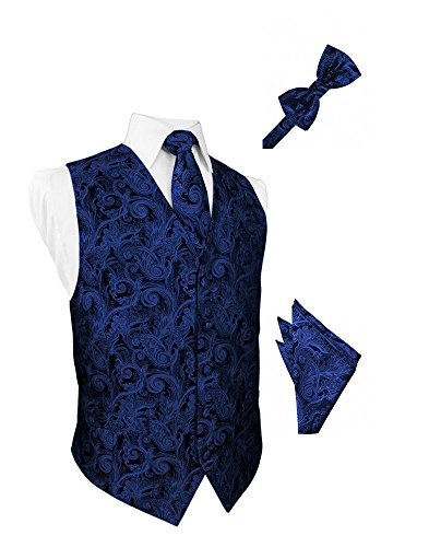 Royal Blue Tapestry Satin Tuxedo Vest with Long Tie Bowtie and Pocket Square Set