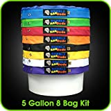 BUBBLEBAGDUDE Bubble Bags 5 Gallon 8 Bag Set - Herbal Ice Bubble Bag Essence Extractor Kit - Comes with Pressing Screen and Storage Bag