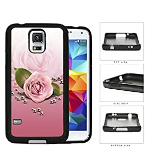 Rose Flower And Pearls In Pink Gradient Rubber Silicone TPU Cell Phone Case Samsung Galaxy S5 SM-G900