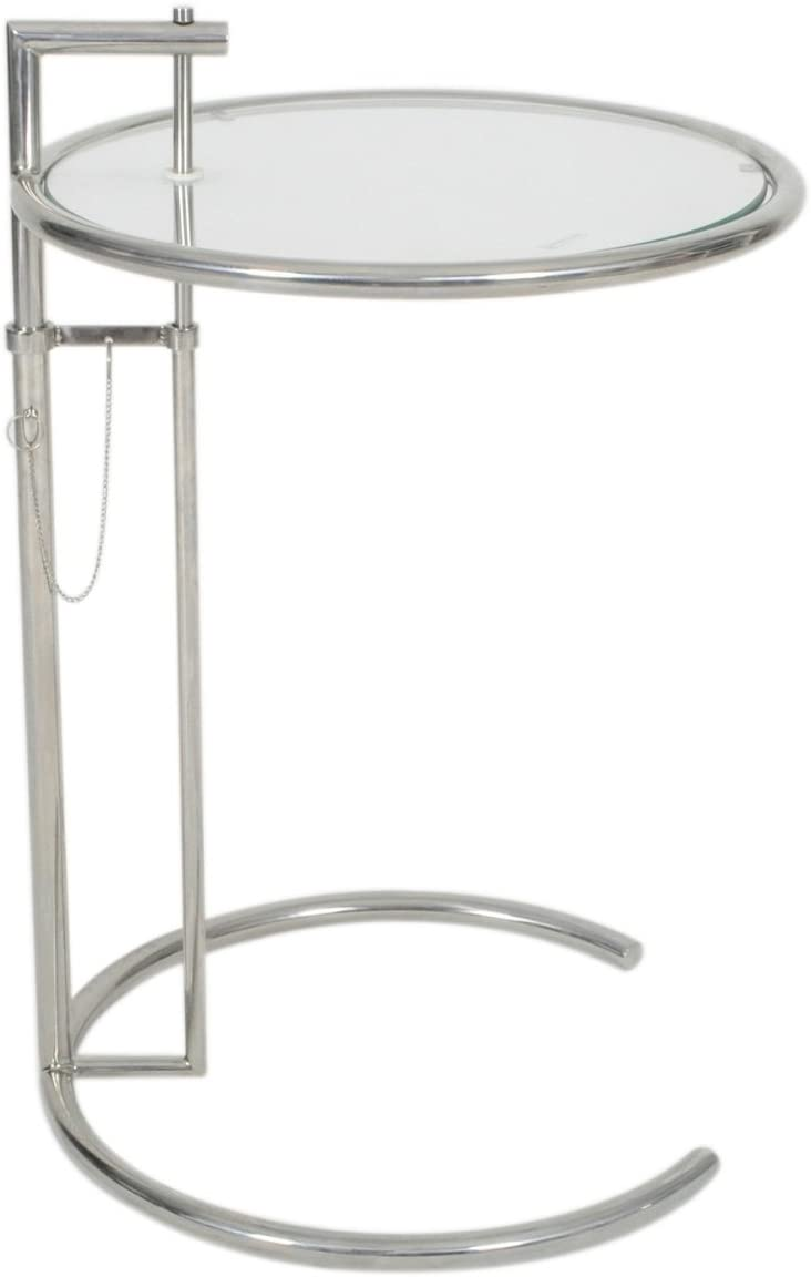 MLF Eileen Gray End Table.Adjustable Height,Safe Tempered Circle Leveled Glass Top,Stainless Steel Tubular Frame for Firm Durability,Metal Side,Easy to Move,Perfect Combination of Functionality.