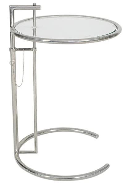 MLF Eileen Gray End Table. Adjustable Height Table, Safe Tempered Circle  Leveled Glass Top