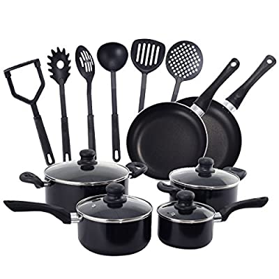 DPThouse 16 Pcs Cooking Kitchen Cookware Set Pots And Pans Kitchen Set Nostick, Free Scratch Resistant by DPThouse