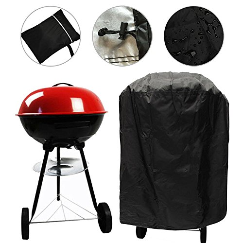 LITTLEGRASS Round Grill Cover 30 inch Waterproof Outdoor Kettle Style Barbecue Grill Cover Dome Gas Smoker Cover UV Resistant Material Patio Garden with Storage Bag for Weber (Dome Gas Grill)