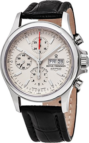 Revue Thommen Airspeed Heritage - Beige Dial Chronograph Day Date Revue Thommen Watch Mens - Brown Leather Band Swiss Revue Thommen Automatic Watch 17081.6532 (Automatic 7750 Watch)