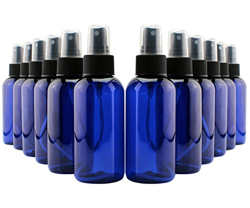 4oz Blue Plastic PET Fine Mist Spray Bottles (12-Pack w/Black Sprayers); Labels Included (Cobalt Blue Glass Mister)