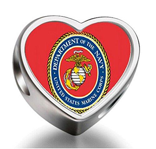 [J.Charm Character Marine Corps Heart Photo Charms Beads bead DIY] (Character Photo Charms)
