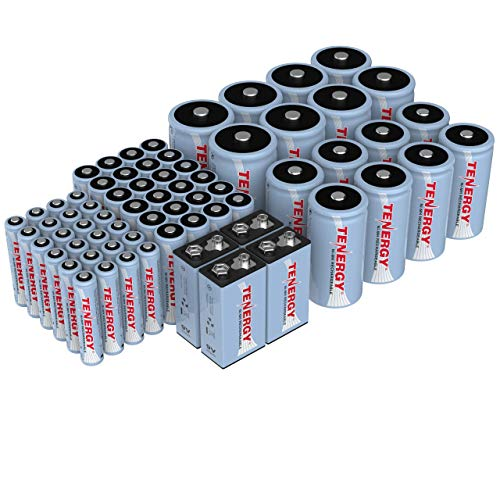 Tenergy AA AAA C D 9V Battery, NiMH Rechargeable Batteries Combo, 68-Pack, 24-Pack 2500mAh AA Cells, 24-Pack 1000mAh AAA Cells, 8-Pack 5000mAh C Cells, 8-Pack 10000mAh D Cells and 4-Cell 9V Batteries