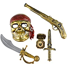 5-Piece Halloween Pirate Costume–Máscara y accesorios