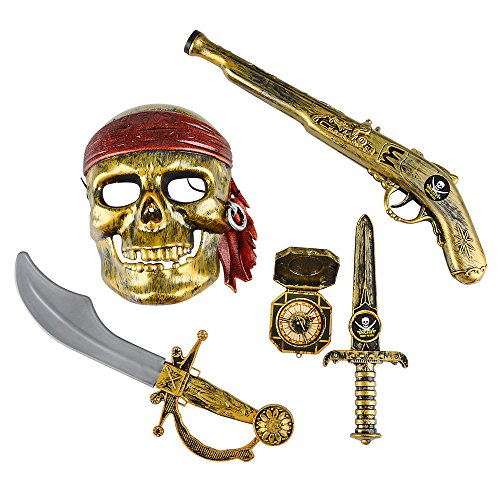 5-piece Halloween Pirate Costume - Mask and Accessories (Costume Pirate Toy)