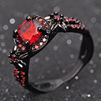 Round Cut Red Ruby Engagement Band Womens 10KT Black Gold Filled Ring Size 6-10 (ุุุ6)