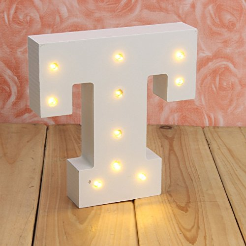 Decorative Light Up Wooden Alphabet Letter,WONFAST DIY LED Letter Lights Sign Party Wedding Holiday Marquee Decor Battery Operated,Warm White,Alphabet (T)