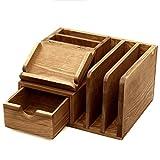 MyGift Rustic Wood Desk Accessory Storage Organizer/Mail Sorter/Post It Note Memo Pad Holder