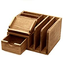 MyGift Rustic Wood Desk Accessory Storage Organizer / Mail Sorter / Post It Note Memo Pad Holder