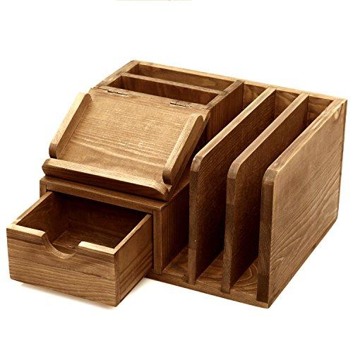 Memo Pad Desk Organizer - MyGift Rustic Wood Desk Accessory Storage Organizer/Mail Sorter/Post It Note Memo Pad Holder