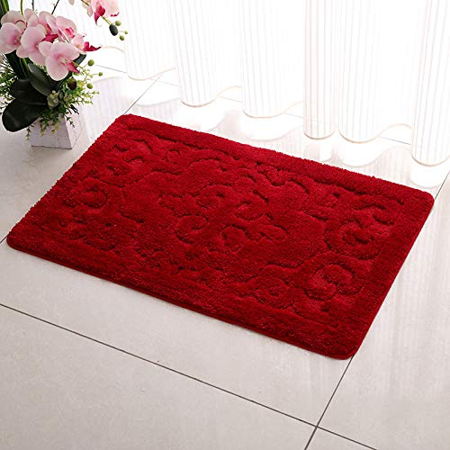 QIAO Rugs Winter Bathroom Mats Bathroom Non-Slip Water Absorbent Plant Dustproof Easy to Clean (Color : B, Size : 60x90cm)