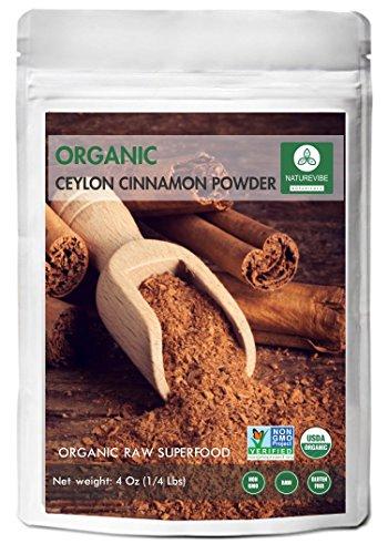 Premium Quality Organic Ceylon Cinnamon Powder (4 Oz) by Naturevibe Botanicals, Raw, Gluten-Free & Non-GMO (4 ounces) by Naturevibe Botanicals