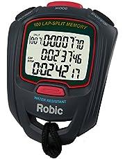 Robic SC-717W 100 - Cronómetro de Memoria Doble, Color Rojo