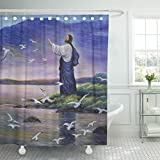 TOMPOP Shower Curtain Christ Jesus Feeds Birds Original Oil Painting on Canvas Prayer Christian Waterproof Polyester Fabric 78 x 72 inches Set with Hooks