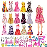 Naisidier 114Pcs Fashion Handmade Clothes Set for Barbie Dolls Toys Including 16Pcs Party Dresses and 98Pcs House Accessories