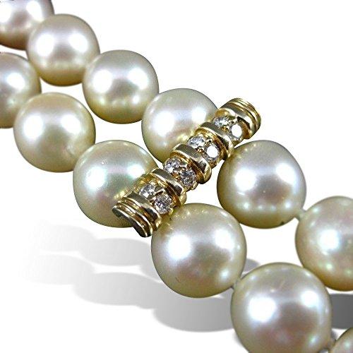 Milano Jewelers LARGE .72CT DIAMOND 14KT YELLOW GOLD AAA PEARL 2 STRAND BRACELET #22606