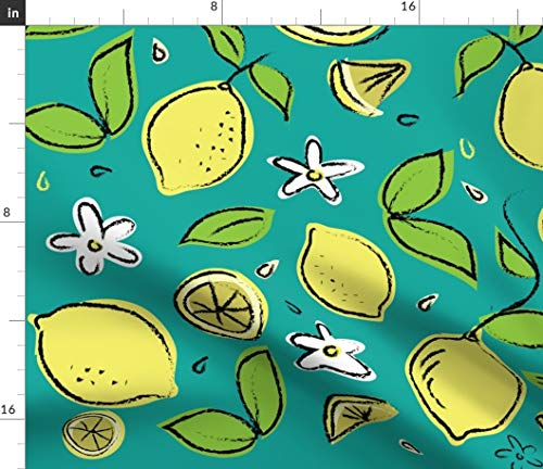 - Spoonflower Lemon Fabric - Summer Lemonade Citrus Tea Towel Kitchen Home Decor Upholstery Lemon Kitchen Tuscany Italy by Wxstudio Printed on Linen Cotton Canvas Ultra Fabric by The Yard