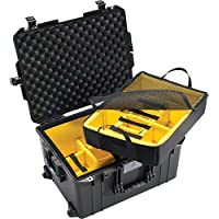 CVPKG Presents - Black Pelican 1607 With Yellow padded dividers Air case. Comes with wheels.