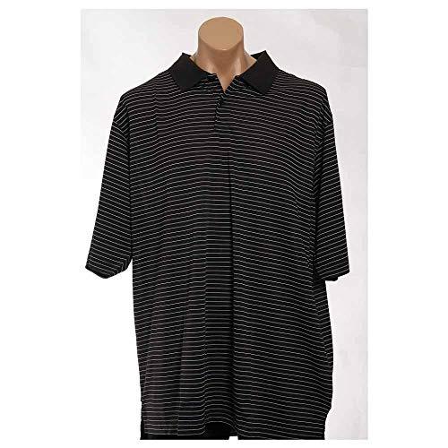 (adidas Golf Men's ClimaLite Tech Pencil Stripe Polo - Black/White A60)