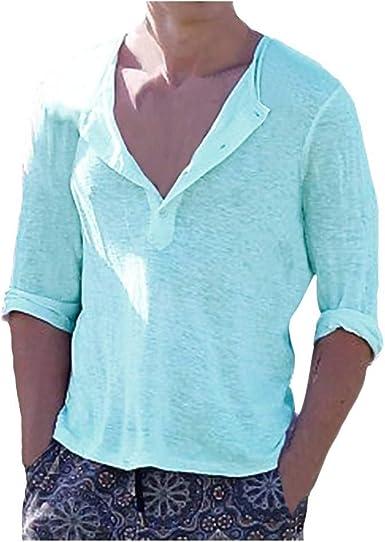 DOGZI Camisas para Hombre - Manga Larga Cuello en v Slim Fit botón Transparente Camiseta: Amazon.es: Ropa y accesorios
