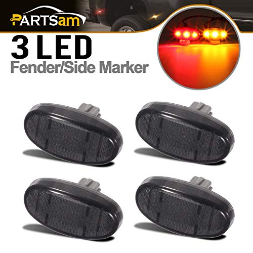 Partsam Smoke Lens Dually Bed Front Rear Side Fender Marker LED Lights Aftermarket Replacement for Ford F350 F450 F550 11 12 13 14 15 16 2011 2012 2013 2014 2015 2016 Super Duty