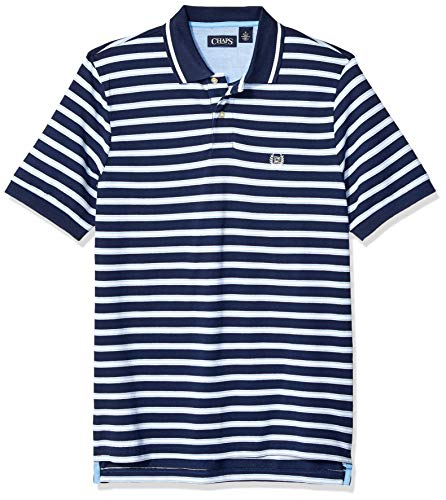 - Chaps Men's Classic Fit Striped Cotton Mesh Polo Shirt, French Navy Multi, L