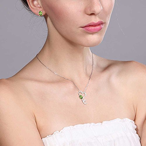 2.12 Ct Green Peridot Gemstone Birthstone 925 Sterling Silver Heart Pendant Earrings Set With 18 Inch Silver Chain