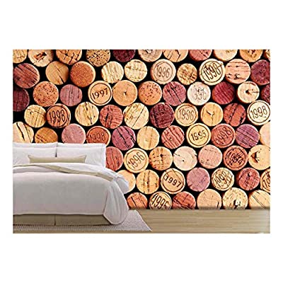 Closeup of a Wall of Used Wine Corks. a Random Selection of Use Wine Corks, Some with Vintage Years - Removable Wall Mural | Self-Adhesive Large Wallpaper - 100x144 inches