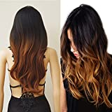28'' / 70cm Long Full Wig with Bangs Brown Ombre 2 Tone Color Japanese Kanekalon Fiber Natural Wave Heat Resistant Synthetic Wig Dyeing Color Curly Wavy Cosplay Wigs Costume Dress,Black to Brown