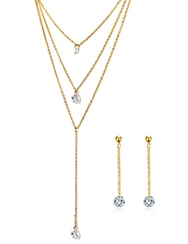 d1d95ed53bc36 3 Layers Multilayer Cubic Zirconia Charm Lariat Sexy Long Chain Y ...