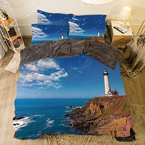 All Season Flannel Bedding Duvet Covers Sets for Girl Boy Kids 4-Piece Full for Bed Width 6.6ft Pattern by,Lighthouse Decor,California Pigeon Point Lighthouse in Cabrillo HWY Coastal Highway State R