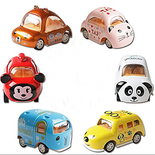 Eternityfing Cute Mini Cartoon Animal Toy Cars Vehicles Pull Back Cars for Babies,Toddlers-6 Pack Assorted by Eternityfing