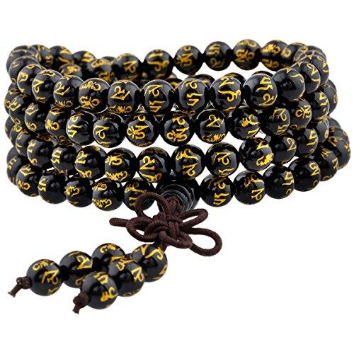 SUNYIK Natural Black Agate Tibetan Buddhist 108 Mala Bracelet for Women Men Carved Six Words Mantra