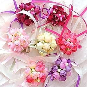 Bridesmaids Wrist flowers for wedding party Prom dress Hand Flower Décor Girls corsage 29