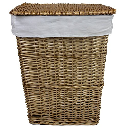 JVL Classic Honey Tapered Willow Wicker Lined Washing Linen Laundry Basket, 57 x 45 x 32 cm ()