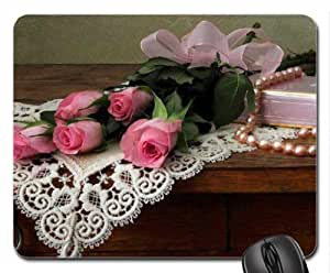 Roses with Pearls Mouse Pad, Mousepad (Flowers Mouse Pad)
