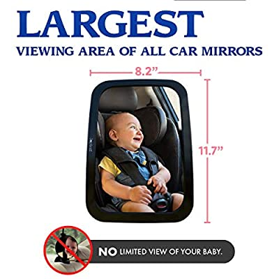 Joybell ONLY Safe Baby Car Mirror for Car Seat Rear Facing | Clamps to Sturdy Post | No Risky Straps | Extra Large| Adjustable to See Baby in Back Seat: Automotive