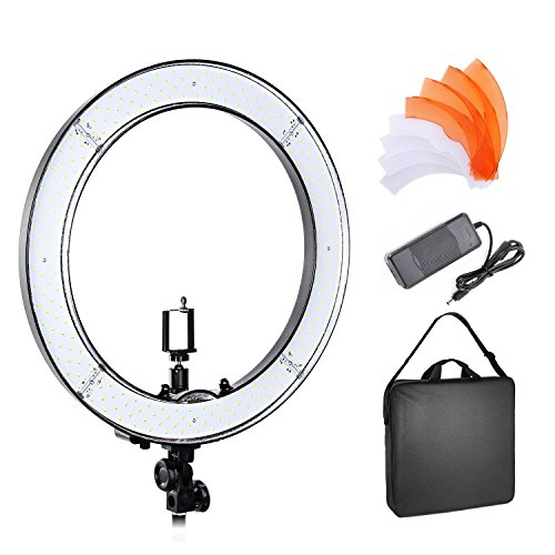 PHOTO MASTER 18 Inch Dimmable LED Ring Light Camera Photo Video 50W 5500K for Makeup,Camera Mobilephone Youtube Video Photography Shooting with Carrying Bag and Plastic Filter Set by Happyjoy