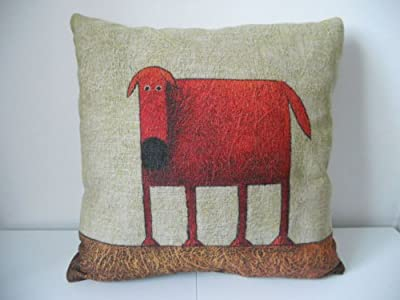 "Decorbox Cotton Linen Square Decorative Throw Pillow Case Cushion Cover Green Background Red Dog 18 ""X18 """
