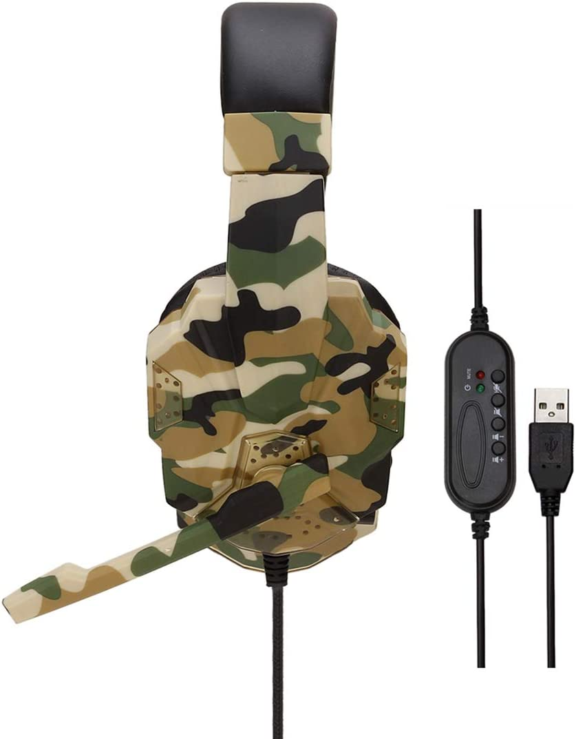 Green iPad Skype Conference Calls Online Classes Gaming YOUPECK Camouflage USB Wired Computer Gaming Headset with 7.1 Surround Sound Over Ear Headphones with Mic,Volume Control for Laptop PC