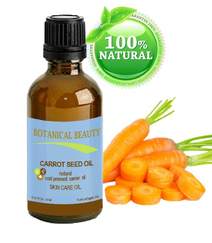 """CARROT SEED OIL 100 % Natural Cold Pressed Carrier Oil. 0.33 Fl.oz.- 10 ml. Skin, Body, Hair and Lip Care. """"One of the best oils to rejuvenate and regenerate skin tissues."""" by Botanical Beauty"""